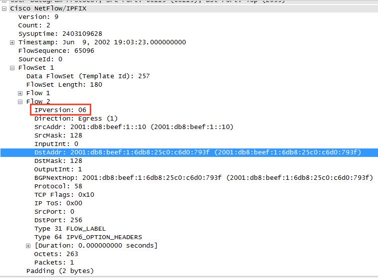 Wireshark peek at IPv6 in Cisco NetFlow v9