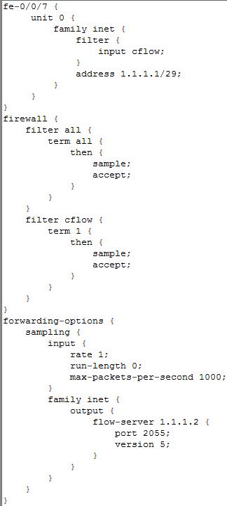 Juniper SRX series Gateway supports J-Flow