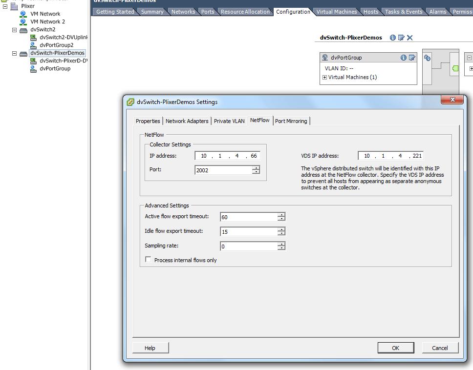 dvSwitch IPFIX configuration