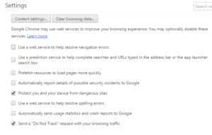 Google Chrome Prefetch settings