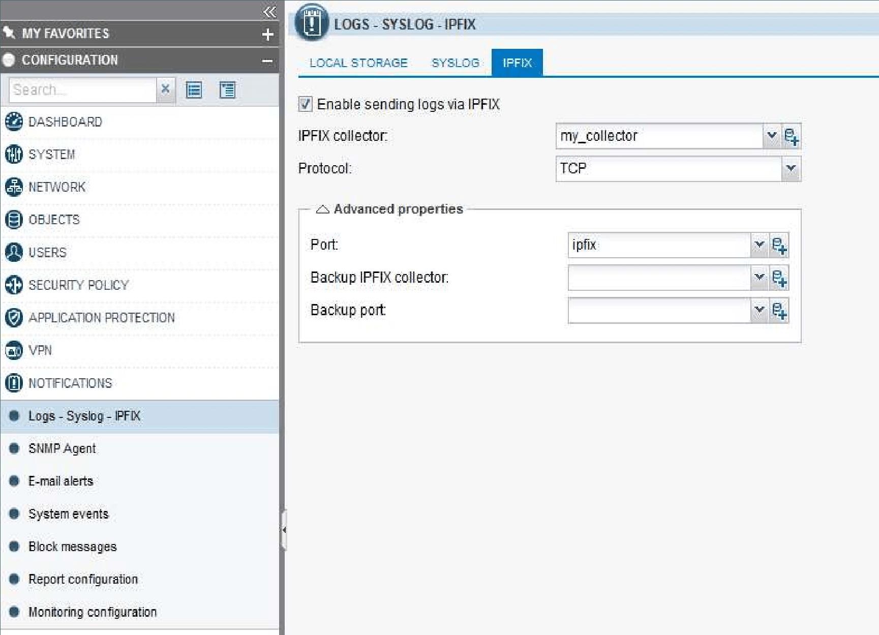 IPFIX Configuration