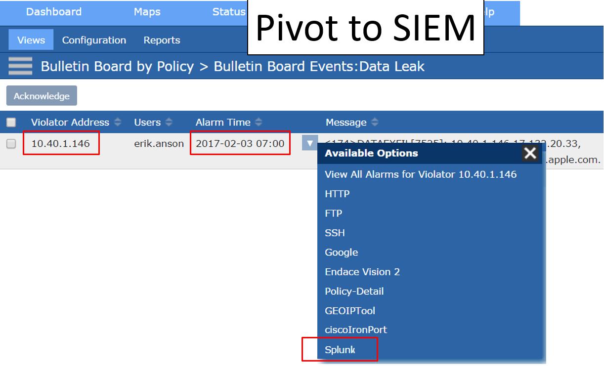 Scrutinizer: Pivot to Splunk while passing violator IP address and timestamp