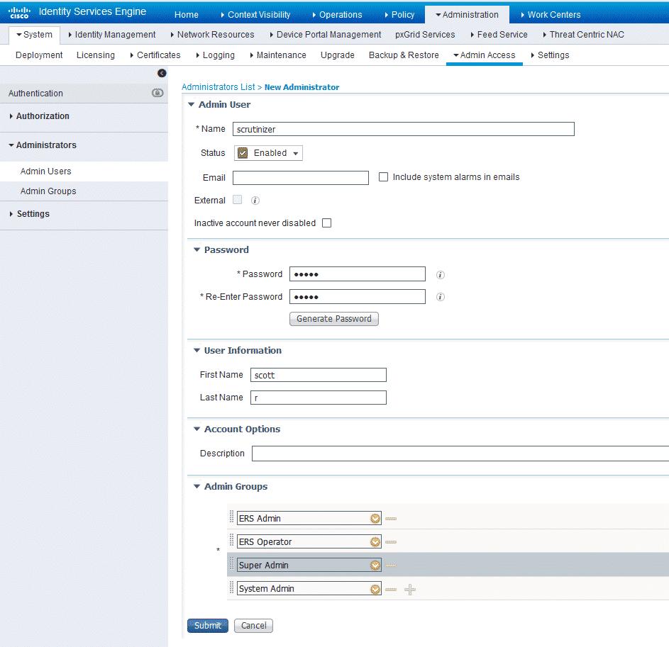 Cisco ISE - Add an Admin User