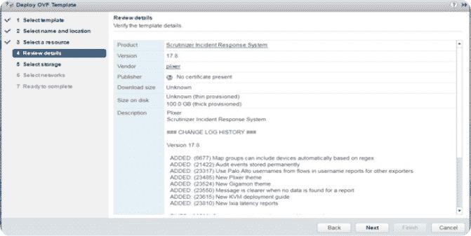 Review virtual machine details