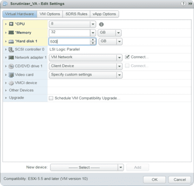 Allocate resources to the Scrutinizer virtual machine