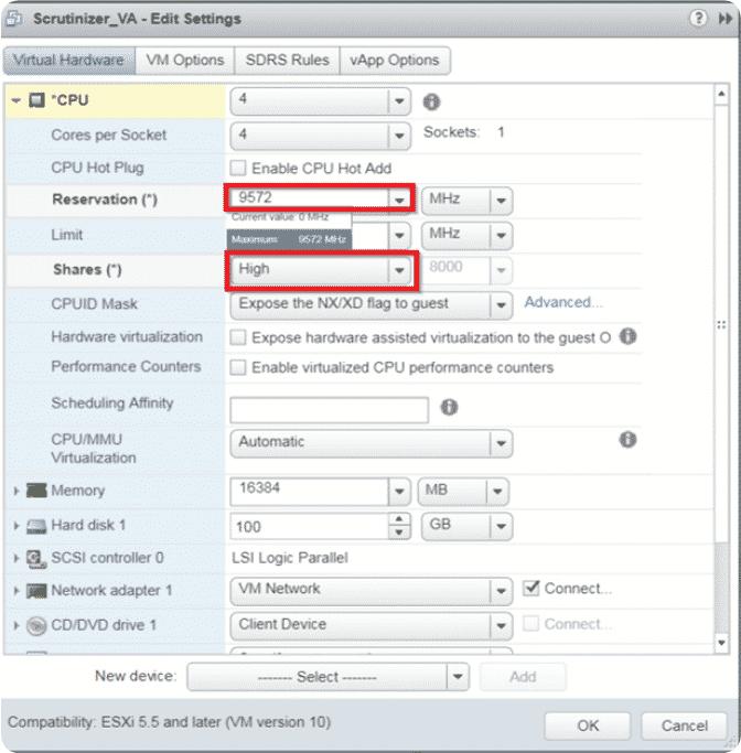 Configure CPU and memory