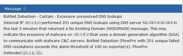 Botnet detection alert