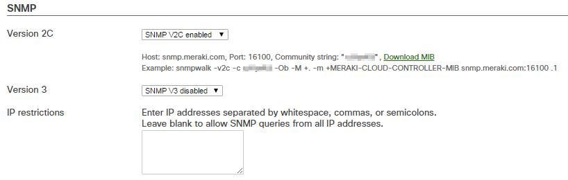 Meraki webui > SNMP