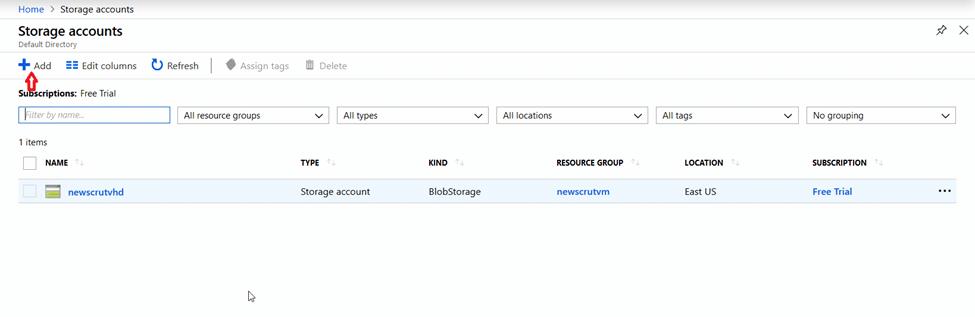 Create a new storage account