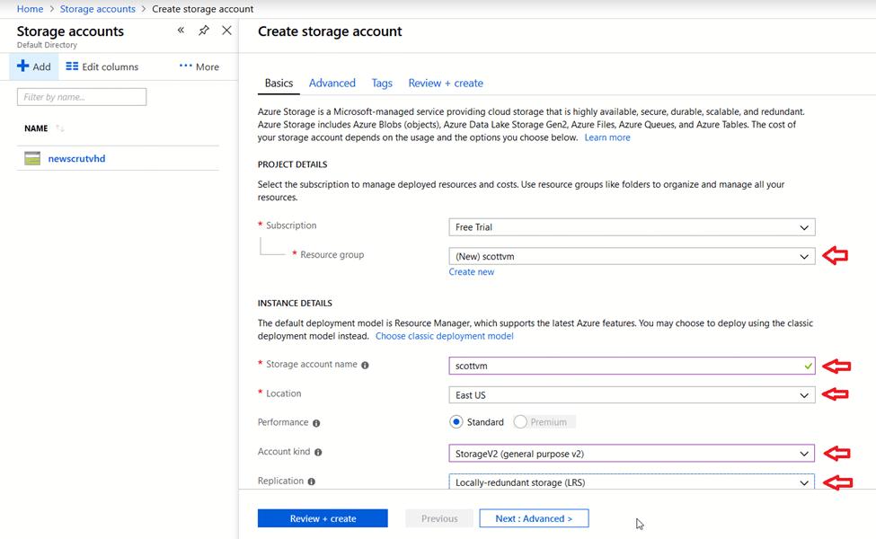 Azure - Create storage account