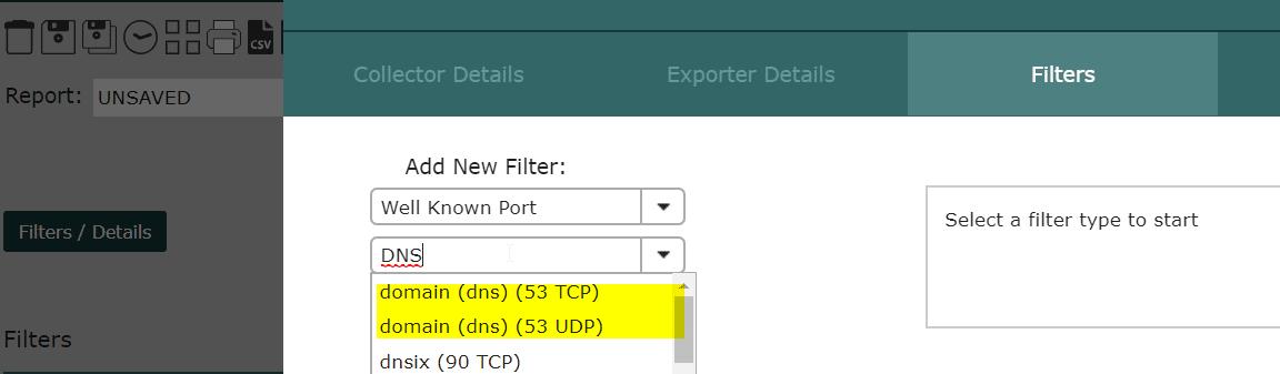 Scrutinizer: Filter for DNS traffic