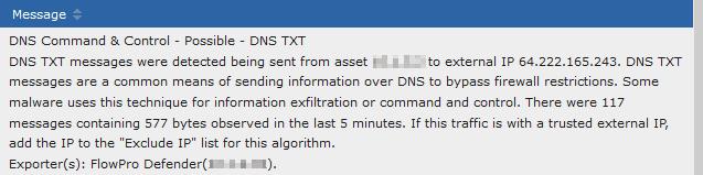 DNS TXT alert