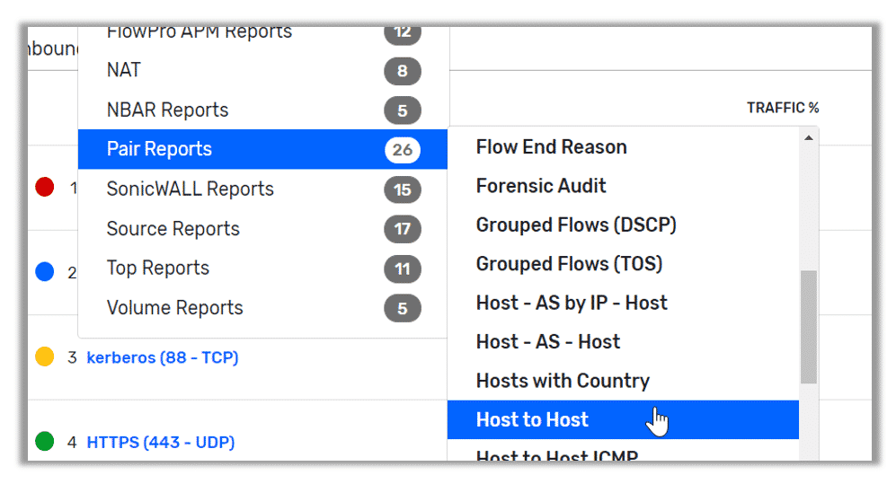 Pair reports > Host to Host report
