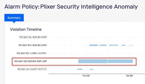 Plixer Security Intelligence anomaly alarm