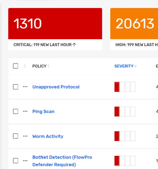 Plixer Scrutinizer alerts dashboard